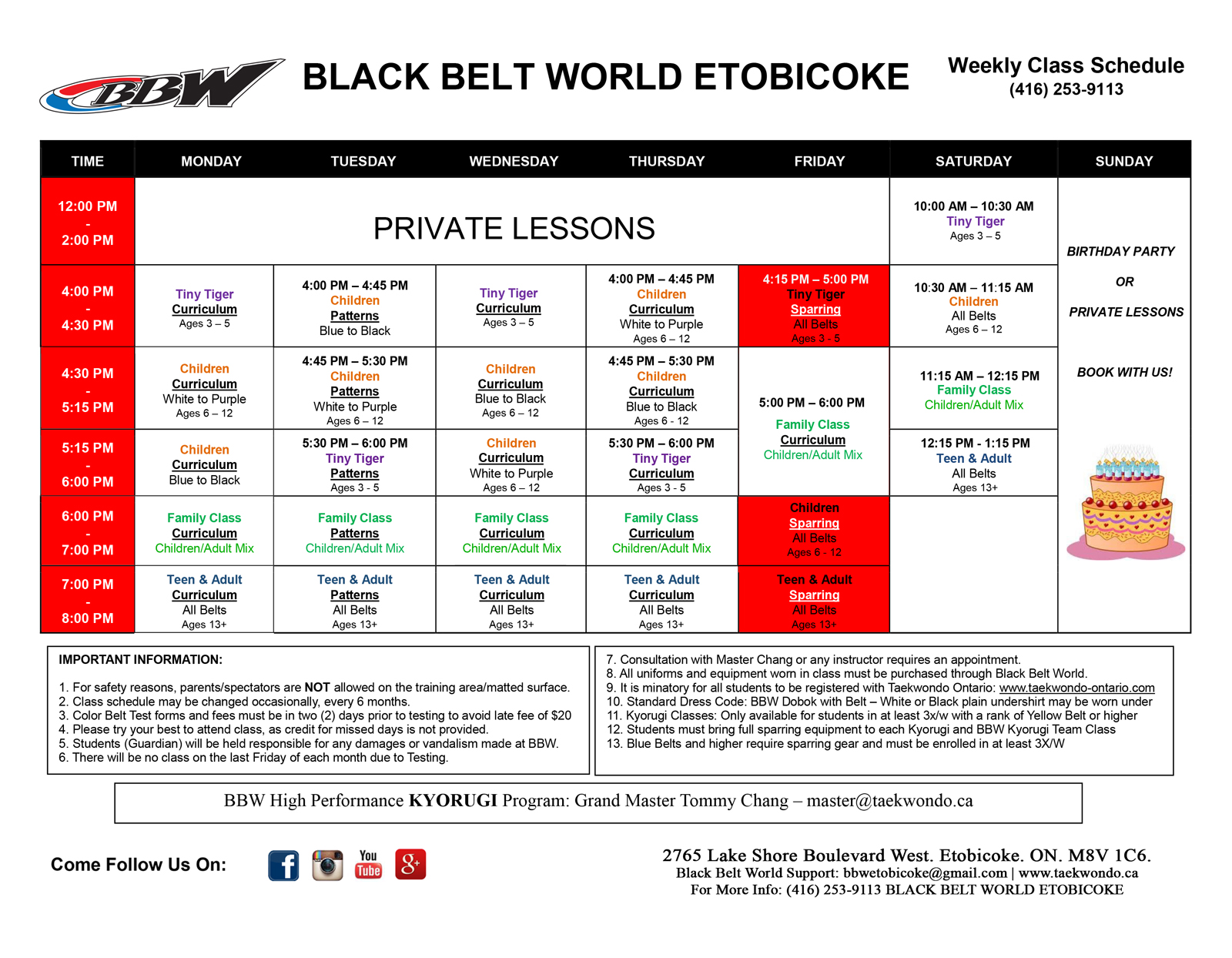 BLACK BELT WORLD Etobicoke SCHEDULE